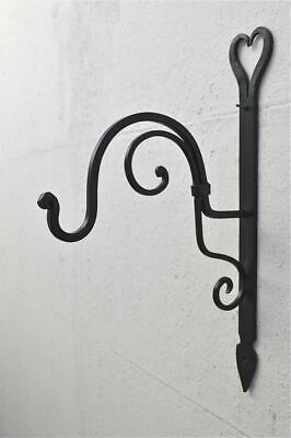 Beautiful Handmade wrought iron heart shaped hanging basket wall bracket HWB