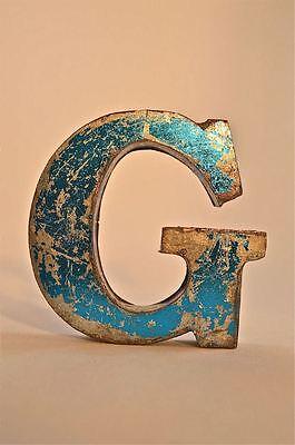 FANTASTIC RETRO VINTAGE STYLE BLUE 3D METAL SHOP SIGN LETTER G ADVERTISING FONT