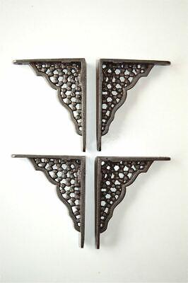 TWO PAIRS OF SMALL HONEYCOMB SHELF BRACKETS CAST IRON WALL SHELF BRACKET
