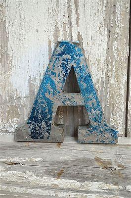 FANTASTIC VINTAGE STYLE METAL 3D BLUE A LETTER FONT SHOP SIGN WALL PLAQUE