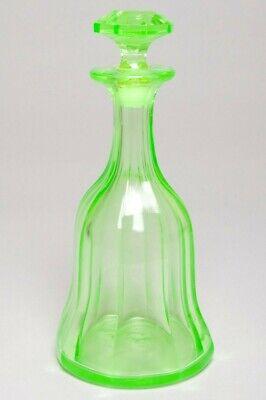 Vintage Green Depression Vaseline Glass Decanter + Stopper Bell-shaped 11