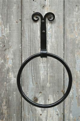 Handmade wrought iron folk art curled top towel ring holder wall mounted rack WQ
