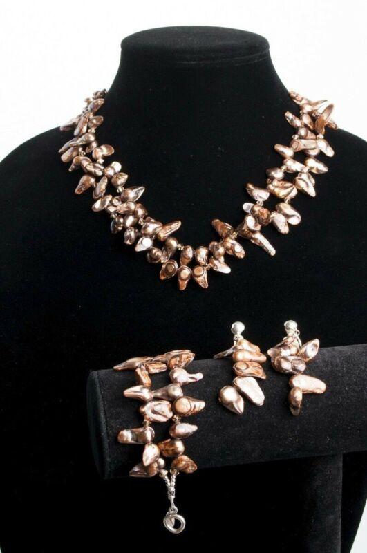 Vintage Jewelry Set Natural Brown Baroque Keshi Pearl Necklace Bracelet Earrings