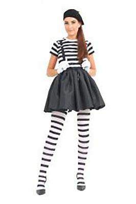 Mime Halloween Outfit (Womens French Mime Artist Fancy Dress Costume Ladies Halloween Party Wear)