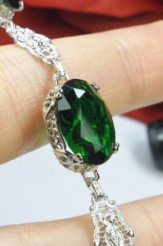 Emerald Sim and Rhodium Edwardian Filigree Bracelet (Custom-Made)*