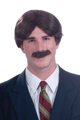 Mr. 70's Brown Ron Burgundy Hair Wig Moustache Facial Hair Adult Mens Accessory
