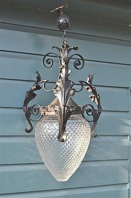 Large impressive original antique wrought iron & cut glass porch light