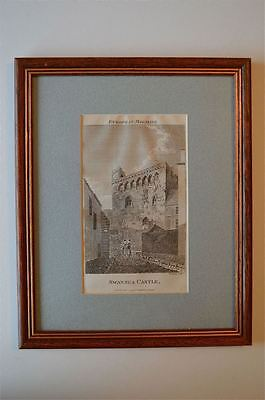 ORIGINAL ANTIQUE FRAMED PRINT SWANSEA CASTLE WALES CIRCA.1793 48