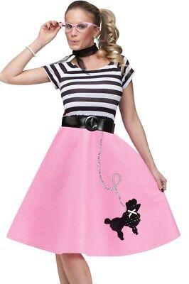 Poodle Skirt Costume Dress Adult 50s 50's Car Hop Soda Pink - S/M 2-8, M/L 10-14 - Car Hop 50s Costume