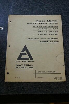 Allis-chalmers Pallet Truck Electric Tow Tractor Parts Manual 12 24 Volt Model