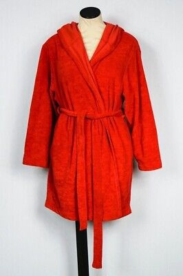 Victoria Secret Cozy Short Red Long Sleeve Terry Cloth Hooded Plush Bath Robe XS ()