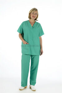 Medical Reversible Scrub TUNIC & TROUSER Set, Unisex Blue Green Hospital Suit