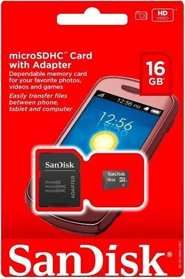 SANDISK 16GB Micro SD Card MicroSD SD SDHC TF Whistle Memory Card adapter New