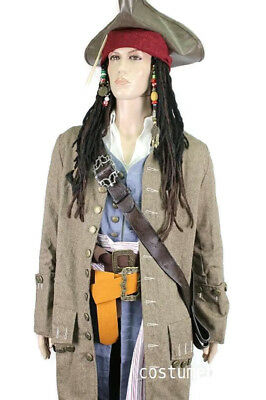 JACK SPARROW Pirate FULL COSTUME Belts Wig Coat Vest Shirt Pants Sash - Jack Sparrow Full Costume