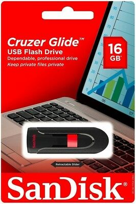 SANDISK CRUZER GLIDE 16GB USB 3.0 FLASH DRIVE MEMORY STICK THUMB STORAGE 16 GB