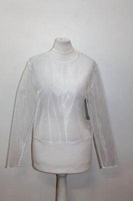 JACQUEMUS Ladies White Long Sleeve Crew Neck Mesh Finish Top Size EU34 UK6