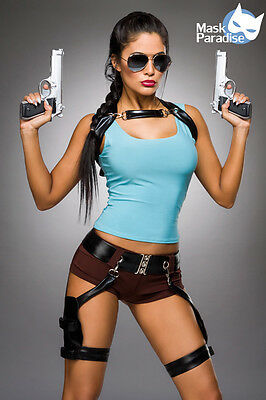 Sexy Lara Croft Damen Kostüm XS-L Karneval Fasching Tomb Raider Gamer Girl (Lara Croft Kostüm)
