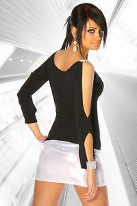 Glamour Shirt Damen Langarm Oberteil Schlitze Strass schwarz Clubwear Cutouts