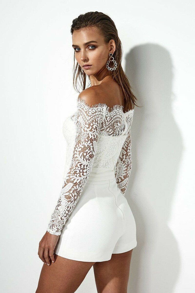 1f88a2d88f43 Off Shoulder Jumpsuit Sexy Women Lace Dresses Short Rompers Long Sleeve  Playsuit