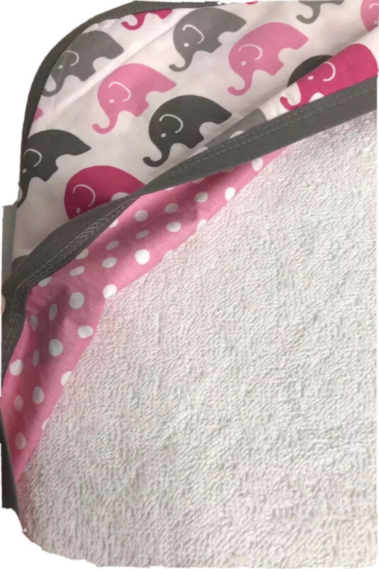 Baby Infant Girl Hooded Bath Towel Gift White Pink Gray Elephant Trunk Up Gift