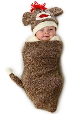 Marv The Sock Monkey Infant Costume Bunting Swaddle Hat Baby Newborn Outfit (Sock Monkey Baby Costume)