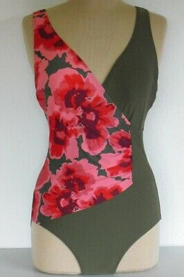Nagelneuer Damen Badeanzug - Wickeloptik - florales Muster - Cup F - 36428226