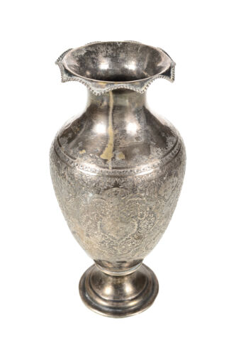 "Beautiful 18th century Antique Persian 12"" Solid Silver Vase"
