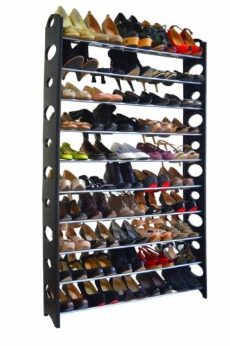 Shoe Rack Bench for 50 Pair Wall Shelf Closet Organizer Storage Box Stand Black
