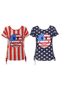WOMENS-LADIES-USA-AMERICAN-FLAG-STRIPE-STAR-SMILE-FACE-TOP-VEST-T-SHIRT-10-12