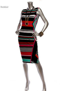 New-W-O-Tag-CACHE-Women-Color-Block-Sleeveless-Dress-Black-White-Multi-Color
