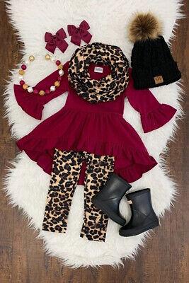 Boutique Kid Baby Girl Leopard Clothes Top T-shirt Dress Legging Pants Outfit US