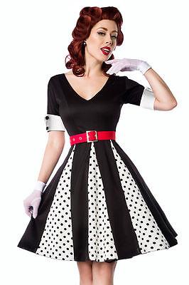 50er Jahre Pin Up Vintage Rockabilly Kleid mit rotem Gürtel Retro-Kleid BELSIRA  (50er Jahre Pin Up Kleid)