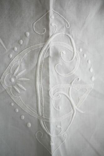 Art Deco French LINEN FIL TROUSSEAU sheet CG OPENWORKS mono c1920
