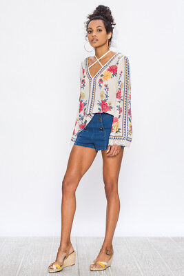 Floral Print V-neck Top (Flying Tomato Blouse Ivory Floral Print V Neck Tie Back Neck Top Long Sleeve NWT)