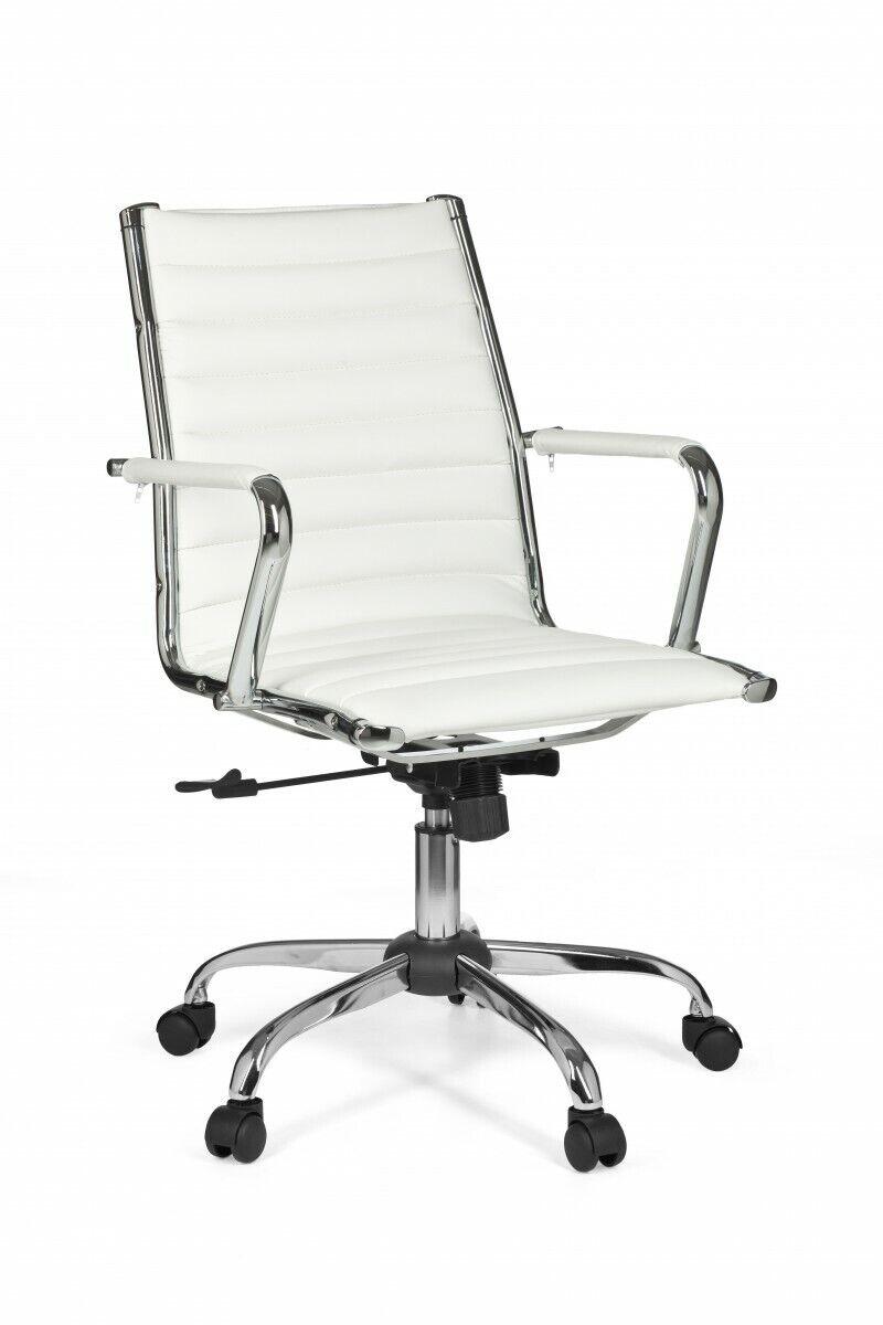 Amstyle Design Chefsessel Genf 2 Drehstuhl Bürostuhl Leder Optik Weiß 120kg