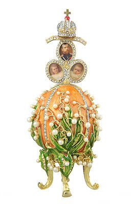 Used, Faberge Egg Music Box Flowers & Russian Emperor Crown photo frames 6.3'' orange for sale  Shipping to United States