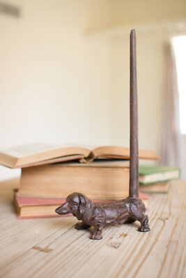 Cast Iron Dog Paper Towel Holder Toilet Roll Organizer Standing Dachshund Decor