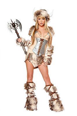 Wikinger Kostüm Viking Gr.40 Karneval Fasching Velourleder Pelzimitat - Pelz Damen Kostüme