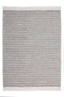 Fransen Wollteppich Teppich Wolle Modern Scandi Struktur Garn Grau Elfenbein - Baumwolle Teppich Garn