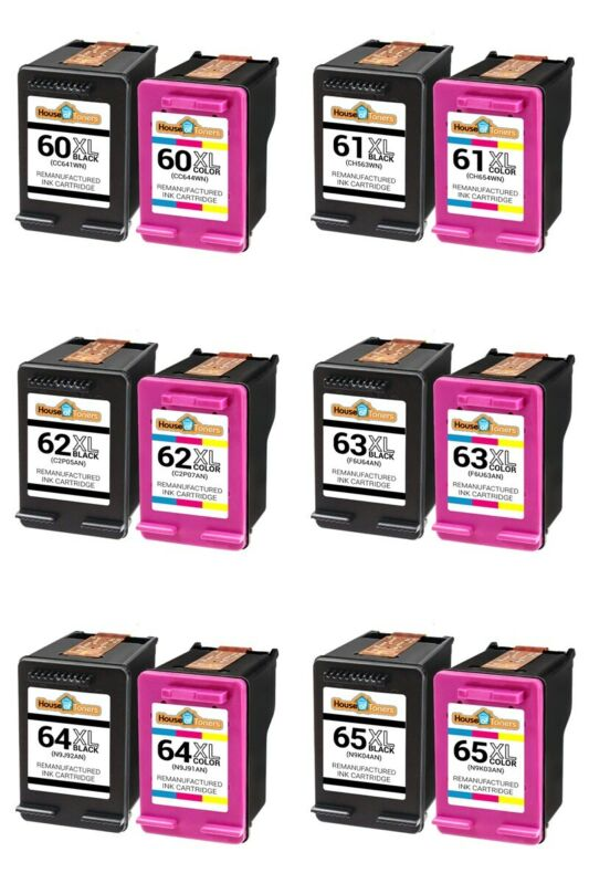 Ink Cartridge Black & Color For HP  61XL 62XL 63XL 64XL  65XL