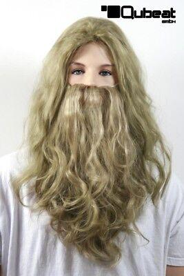 Perücken Herren Lang braun-blond Polyester mit Bart Mittelscheitel gewellt Karn ()