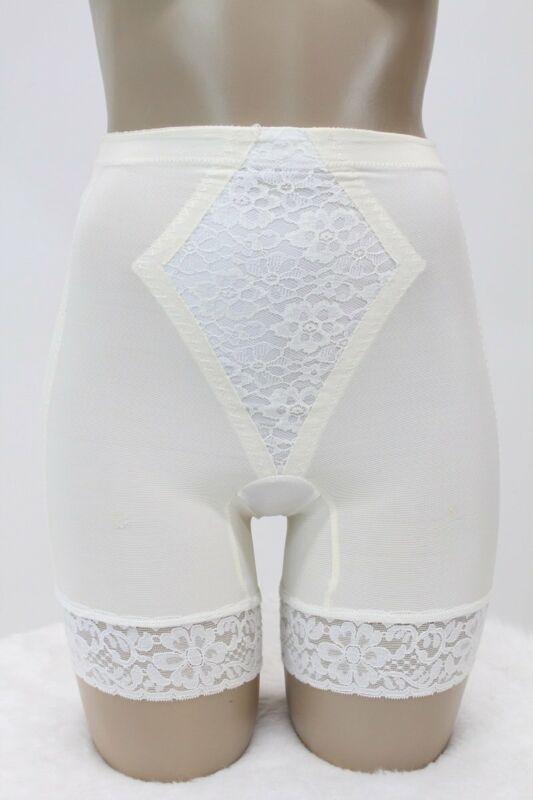 Vintage Montgomery Ward Long Leg Panty girdle shaper wide lace Medium