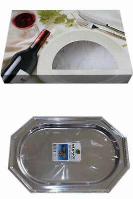 Set 10x Party-Service-Karton 46x31x8 cm + 5x Assietten/Servierplatten silber