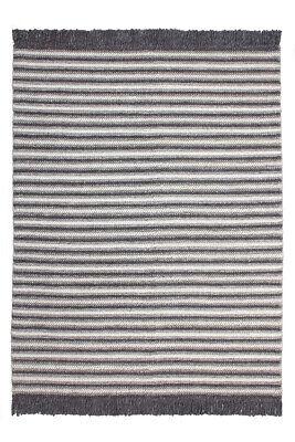 Fransen Wollteppich Teppich Wolle Modern Scandi Struktur Garn Grau Schwarz - Baumwolle Teppich Garn