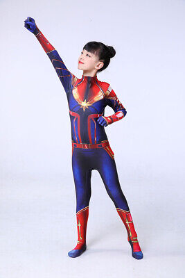 2019 Captain Marvel Costume Carol Danvers Heroine Tights Suit for Kids or Adult