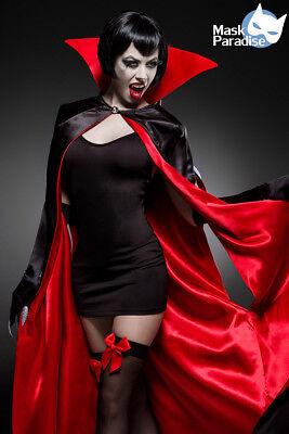 Sexy Vampir Set, 4tlg Kostüm Umhang Cape,Overknee, Handschuhe - Vampir Kostüm Rot Cape