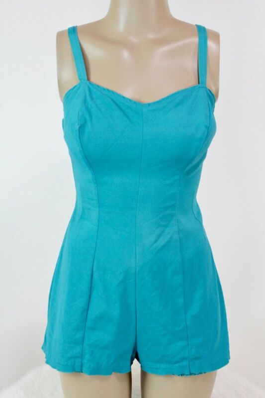 Vintage Jantzen swimsuit Teal Rockablilly bathing pinup bombshell 50s
