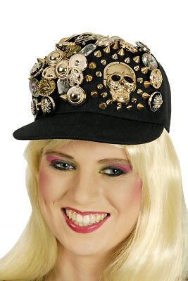 Baseball Kappe Cap Damen schwarz, goldene Knöpfe Totenkopf Gothic