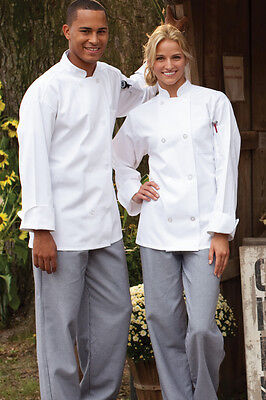 Classic chef coat 8 plastic pearl button front XS-2XL long sleeve 0400 (Classic Chef Coat)