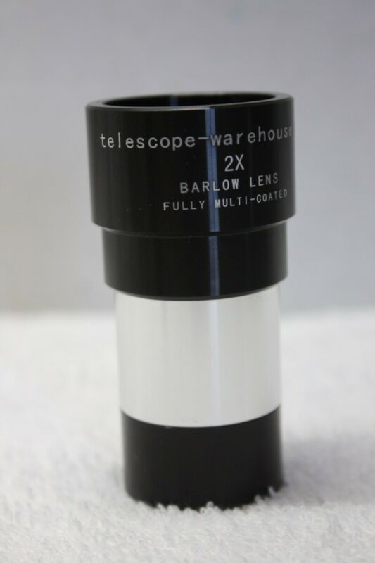 "Telescope Warehouse 1.25"" 2x Shorty Multi-coated Barlow Lens - Dual Power - NEW!"